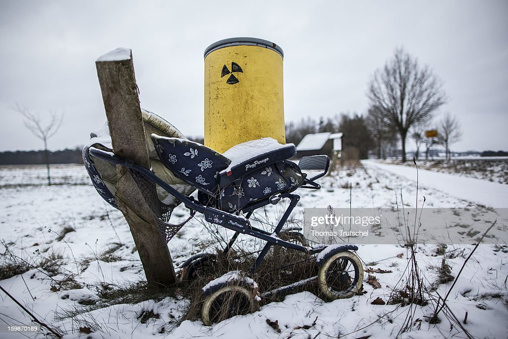 A baby carriage with a nuclear waste barrel is erected in order to protest against the interim storage facility for nuclear waste in the city of Gorleben on January 21, 2013 in Luechow. People in the Wendland Region fight many years against Gorleben as a position for the nuclear waste of german nuclear power stations.