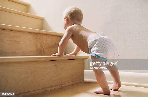 baby climbing the stairs - romper el hielo fotografías e imágenes de stock