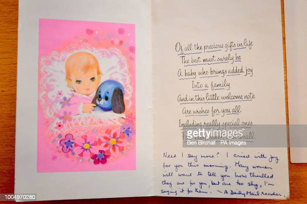 A baby congratulation card sent from a Daily Mail newspaper reader which forms part of the Lesley Brown archive a collection of items kept by the...