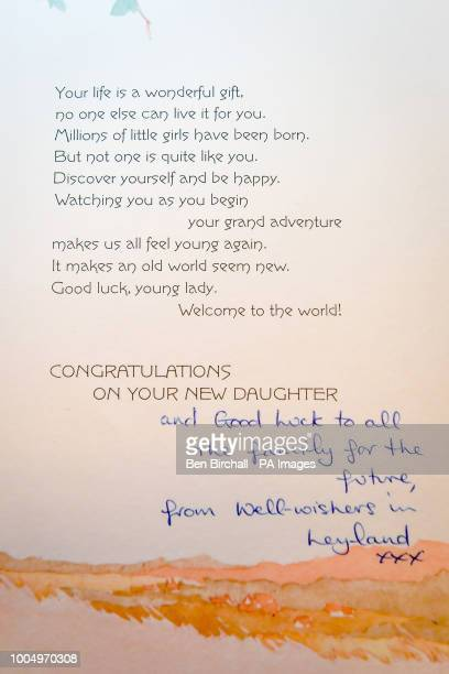 A baby congratulation card sent from a wellwisher in Leyland which forms part of the Lesley Brown archive a collection of items kept by the mother of...