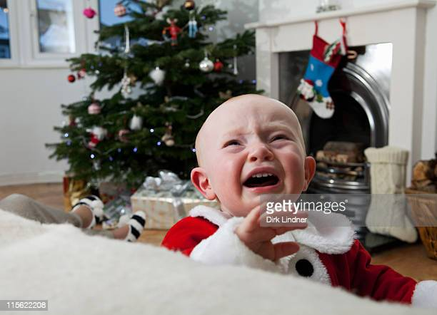 A baby crying at Christmas