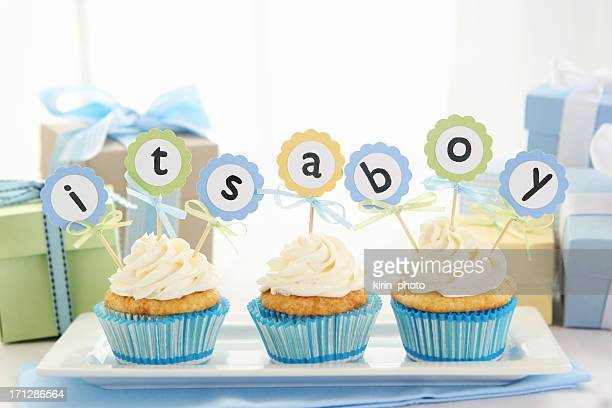 baby cupcakes - baby shower stock photos and pictures