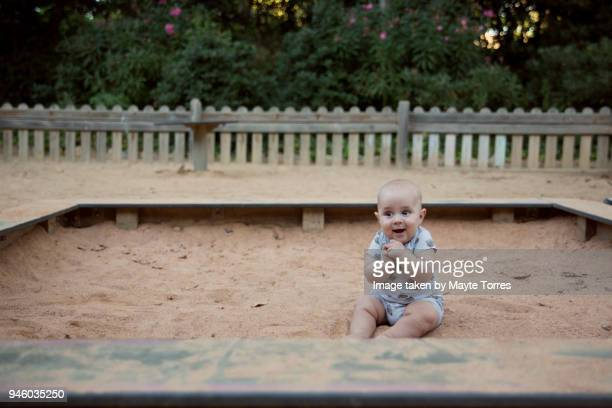 Baby delighted at playground