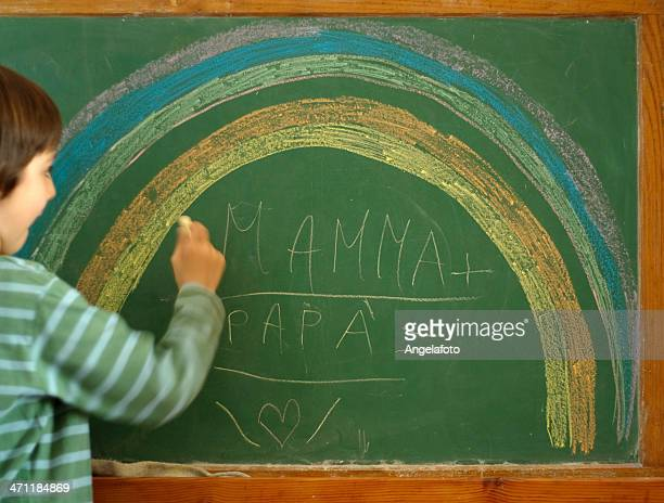 Baby Drawing a Rainbow at the Blackboard