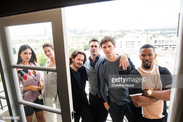 Baby Driver Cast including Eiza Gonzalez Lily James director Edgar Wright Jon Hamm Ansel Elgort and Jamie Foxx are photographed for Los Angeles Times...