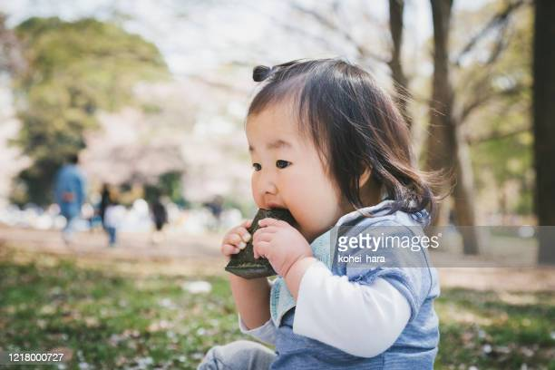baby eating rice bowl in the park - rice ball stock pictures, royalty-free photos & images