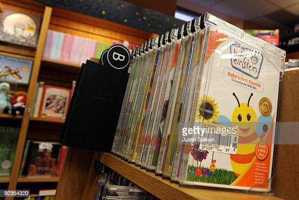 Baby Einstein DVDs are displayed on a shelf at a Borders book store October 26 2009 in San Francisco California Walt Disney Co has announced that it...