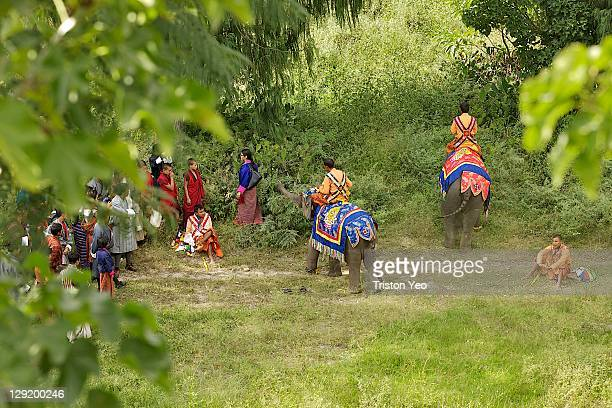 Baby elephants wearing traditional robes parading around the grounds of the fortress on October 13 2011 in ParoBhutan King Jigme Khesar Namgyel...