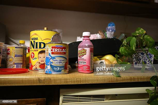 Baby food sits on a kitchen counter inside the home of shooting suspect Syed Farook on December 4, 2015 in Redlands, California. The San Bernardino...