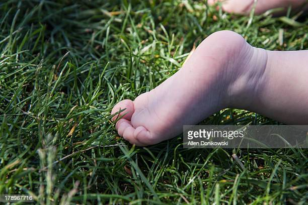 baby foot in the grass