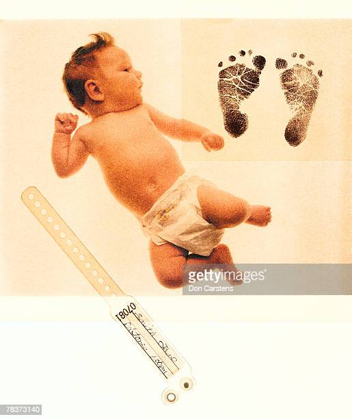 Baby footprints and medical bracelet