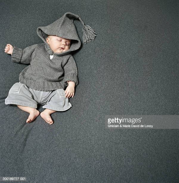 baby girl (0-3 months) asleep, elevated view - 0 1 months stock pictures, royalty-free photos & images