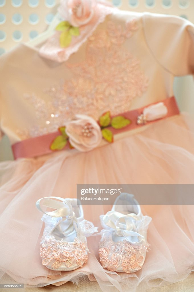 baby girl bapism dress : Stock Photo