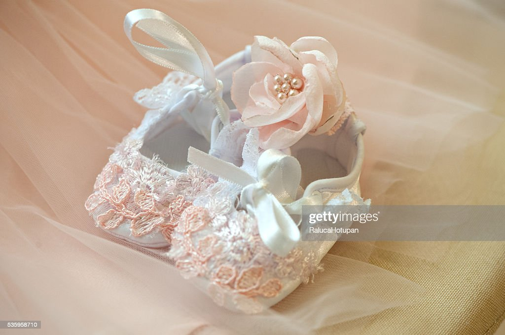 baby girl bapism dress : Stock Photo