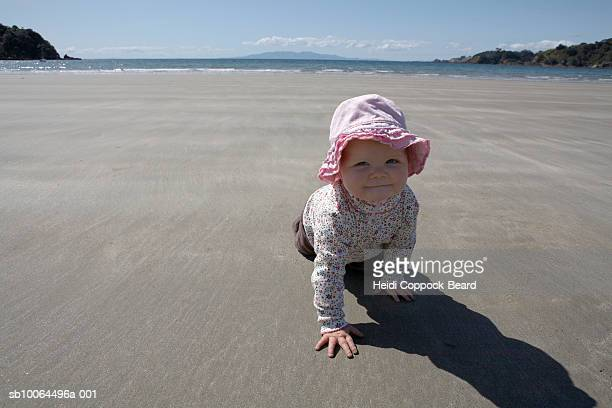 baby girl (10-12 months) crawling on beach near sea - heidi coppock beard stock pictures, royalty-free photos & images