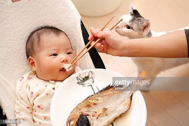 Baby girl eating fish