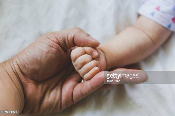 baby girl fist resting on fathers hand - new life stock pictures, royalty-free photos & images