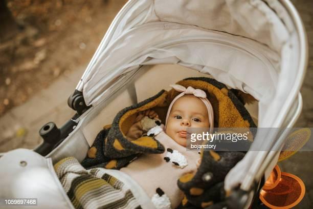 ベビーカーの横になっている女の赤ちゃん - 乳母車 ストックフォトと画像