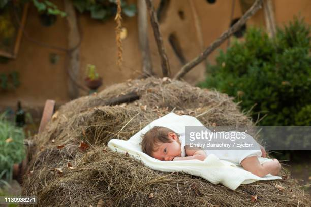 baby girl lying on bed over hay - lying on front stock pictures, royalty-free photos & images