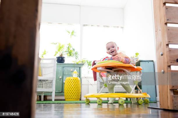 baby girl playing in walker - babyhood stock pictures, royalty-free photos & images