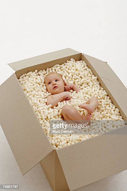 Baby girl (3-6 months) sitting in box of packing foam