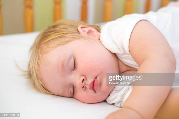 baby girl (6-11 months) sleeping in cot, worcester, breede valley, western cape, south africa - 6 11 months stock pictures, royalty-free photos & images
