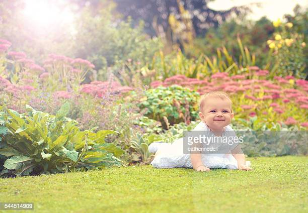 baby girl (6-11 months) starting to crawl in park - 6 11 months stock pictures, royalty-free photos & images