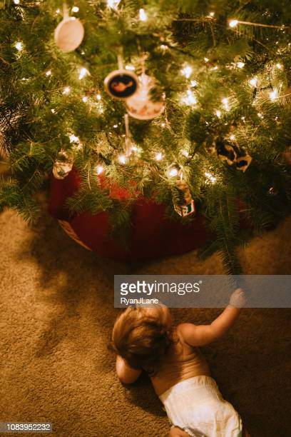 Baby Girl Trying to Grab Christmas Tree Ornaments
