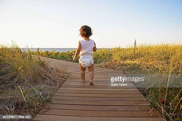 baby girl (12-15 months) walking on boardwalk amongst grass, rear view - windel stock-fotos und bilder