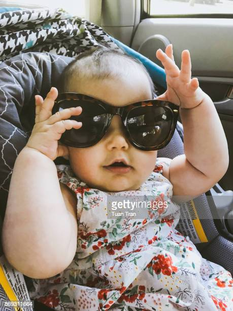 Baby girl wearing sunglasses