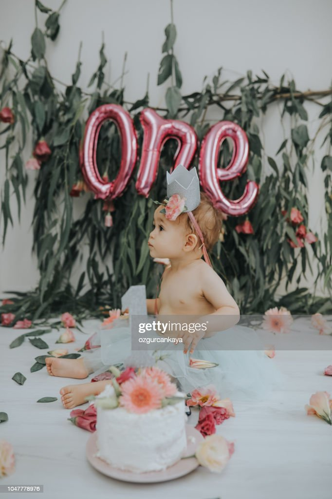 Tremendous Baby Girl With First Birthday Cake High Res Stock Photo Getty Images Funny Birthday Cards Online Inifodamsfinfo