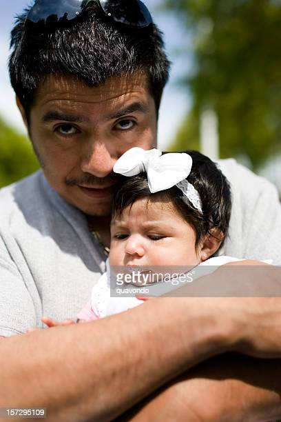 baby girl with hispanice father portrait, copy space - mexican and white baby stock photos and pictures