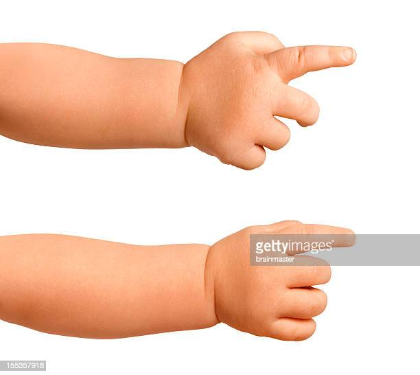 baby hands pointing - baby pointing stock photos and pictures