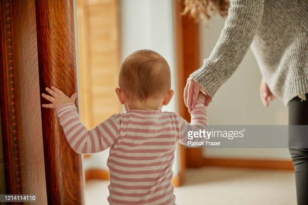 baby holding hands with young adult helping taking first steps from behind - baby stock pictures, royalty-free photos & images