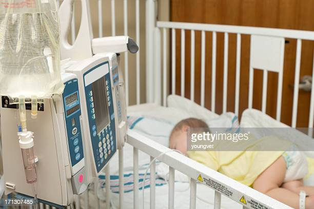 Baby in the hospital on intravenous fluids