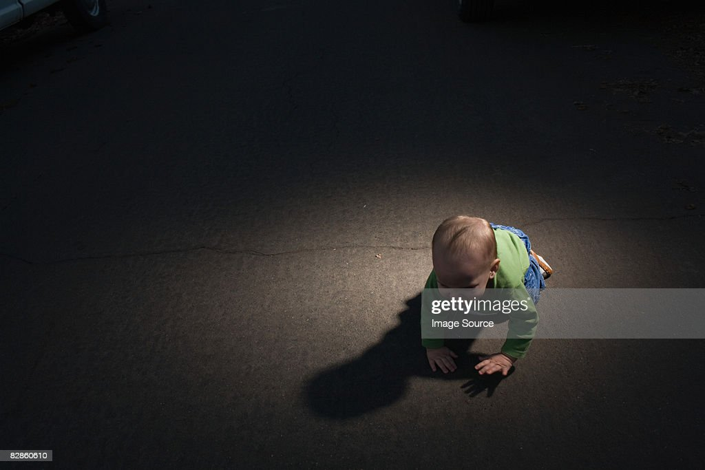 Baby in the road : Stock Photo