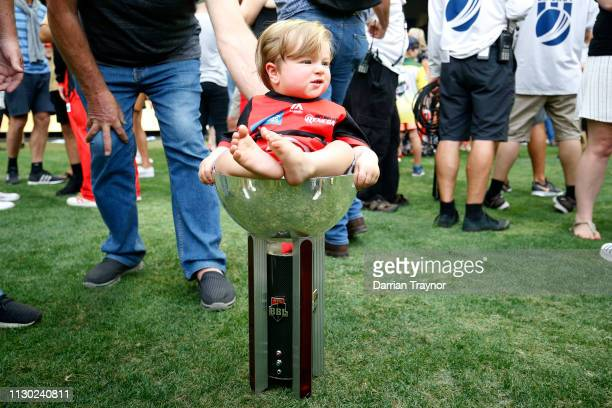 Baby is seen sitting in the trophy after the Big Bash League Final match between the Melbourne Renegades and the Melbourne Stars at Marvel Stadium on...
