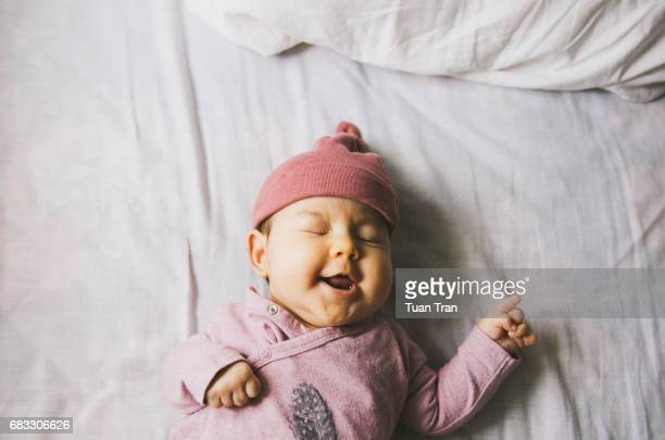 baby laughing - baby girls stock photos and pictures