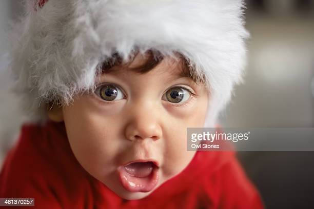 Baby making funny surprised face