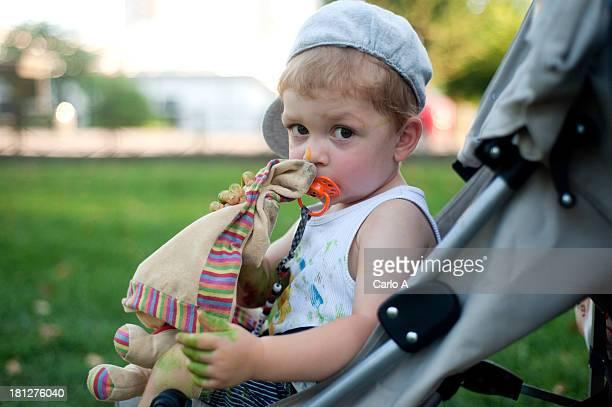 Baby on stroller
