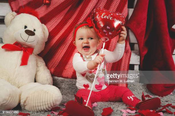 baby on valentine's day - baby m stock pictures, royalty-free photos & images