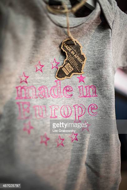 Baby onesies made in Africa with 'Made in Europe' printed on the front as seen on November 12 2013 in Brussels Belgium