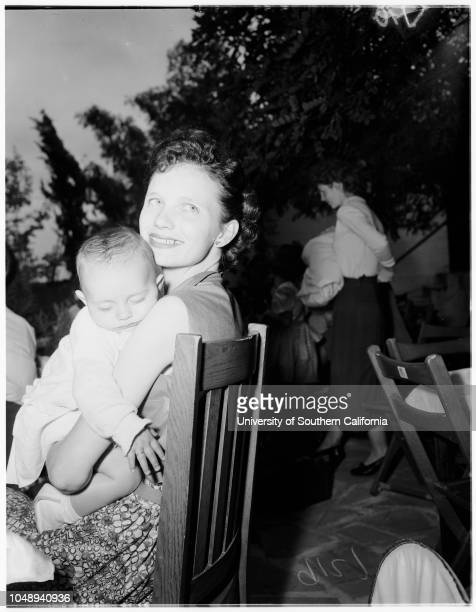 Baby partysociety May 13 1951 Mrs Regnie Underwood and daughter Vicki Lea two monthsMrs Allan Summers and daughter Janet two monthsMrs JB Lisbony...
