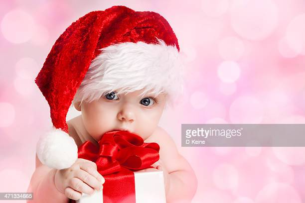 baby - santa hat stock photos and pictures