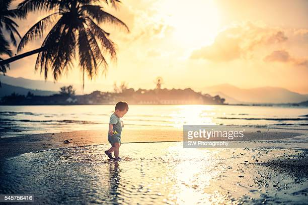 baby playing on the beach, enjoying the beautiful sunset - surat thani province stock pictures, royalty-free photos & images
