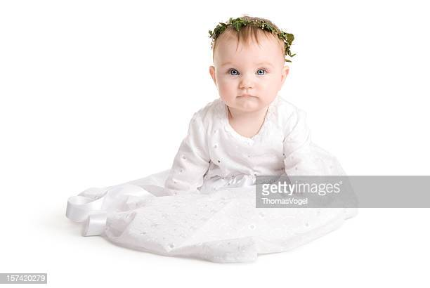 baby princess. baptism girl dress white small celebration clothing - christening gown stock pictures, royalty-free photos & images