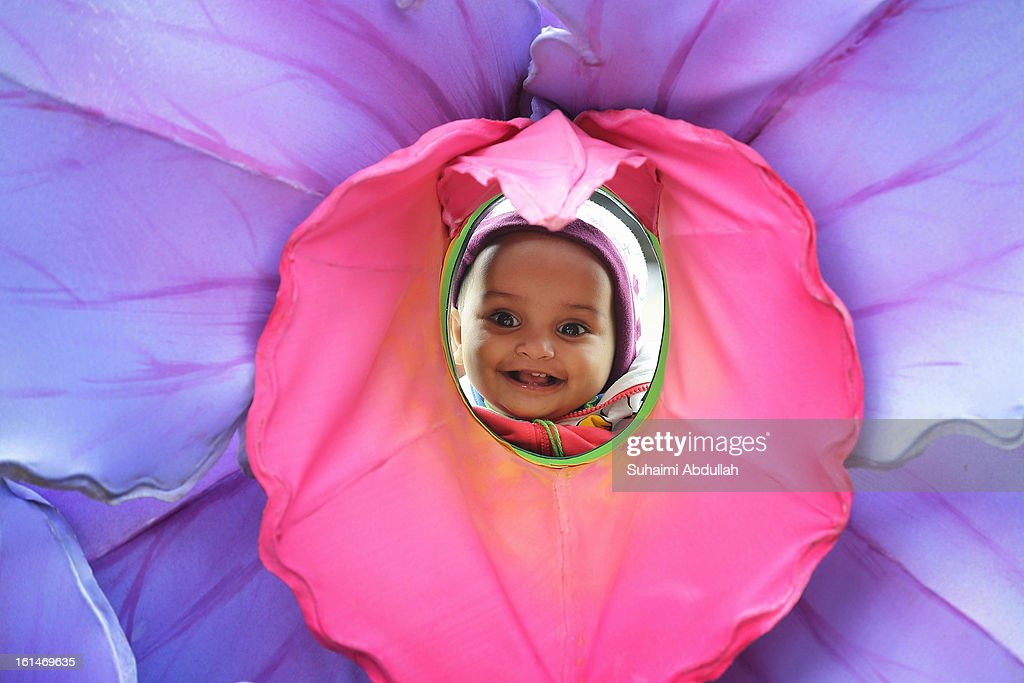 A baby puts her head inside a floral display to pose for a photograph at the Sentosa Flowers exhibition at Palawan Beach on February 11, 2013 in Singapore. Millions of spring flowers decorate the island in celebration of the Chinese New Year, the year of the Snake.