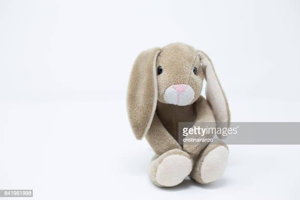 baby rabbit - stuffed toy stock pictures, royalty-free photos & images