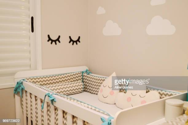 baby room - empty crib stock photos and pictures