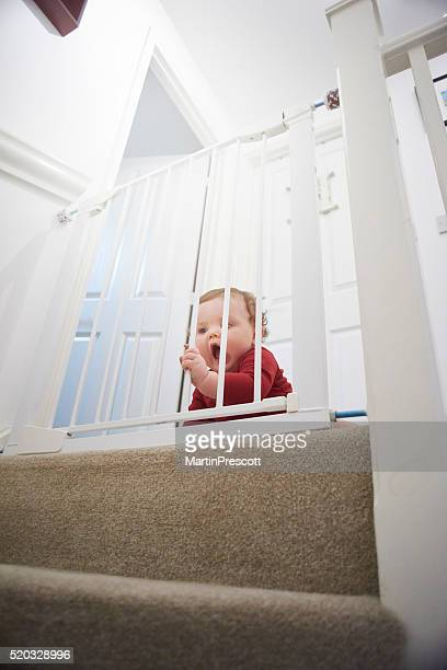 Baby safety gate on stairs